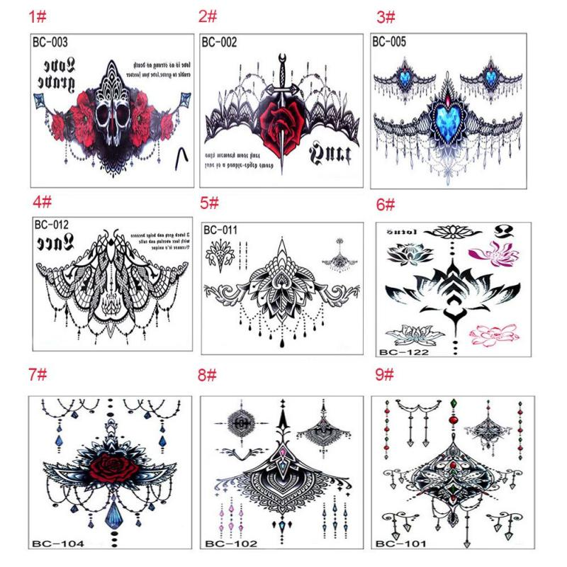 temporary Tattoo Black Waterproof Tattoo Sticker women Men Body Art Arm back Sleeve Tatoos A6 2