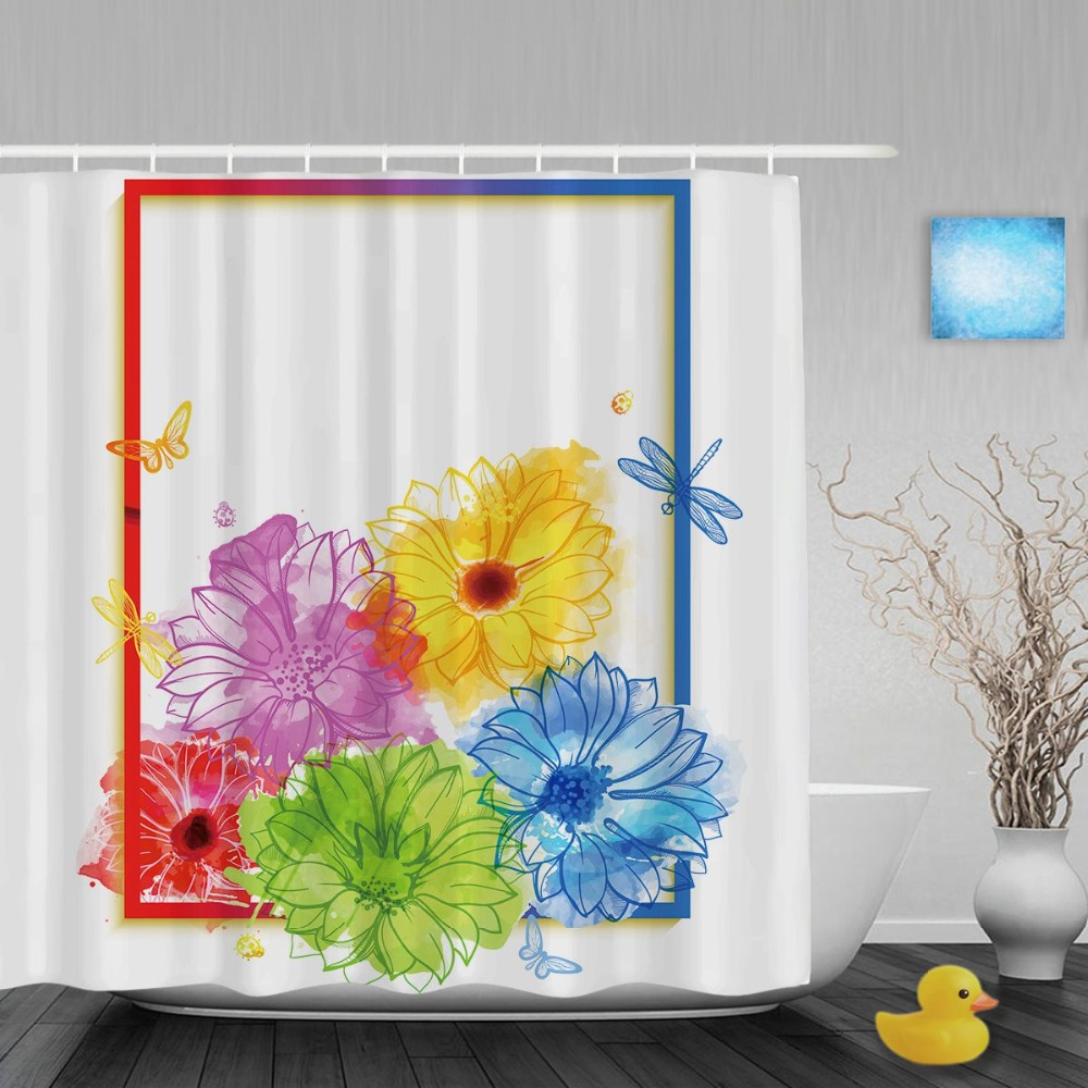 Welcome To Sprin Bathroom Shower Curtains Colorful African Daisy Floral Shower Curtain Waterproof Polyester Fabric With Hooks