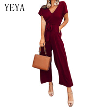 YEYA Fashion Short Sleeve High Waist Tie Up Wide Leg Jumpsuits Women Summer V Neck Vintage Jumpsuit OL Elegant Workwear Jumpsuit недорого
