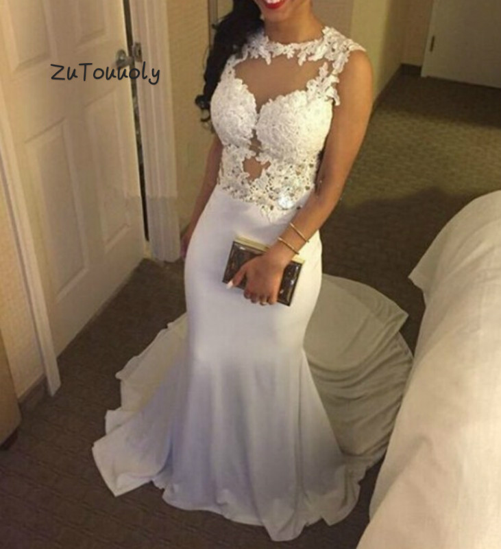 Vintage White Mermaid Prom Dress Illusion Back Appliques Long Party Dress For Girls 2019 Fitted Cheap Evening Ceremony Dresses