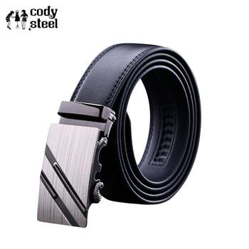 Cody Steel PU Leather Mens Belts Automatic Buckle Fashion Belts For Men Business Popular Male Brand Black Belts Luxury