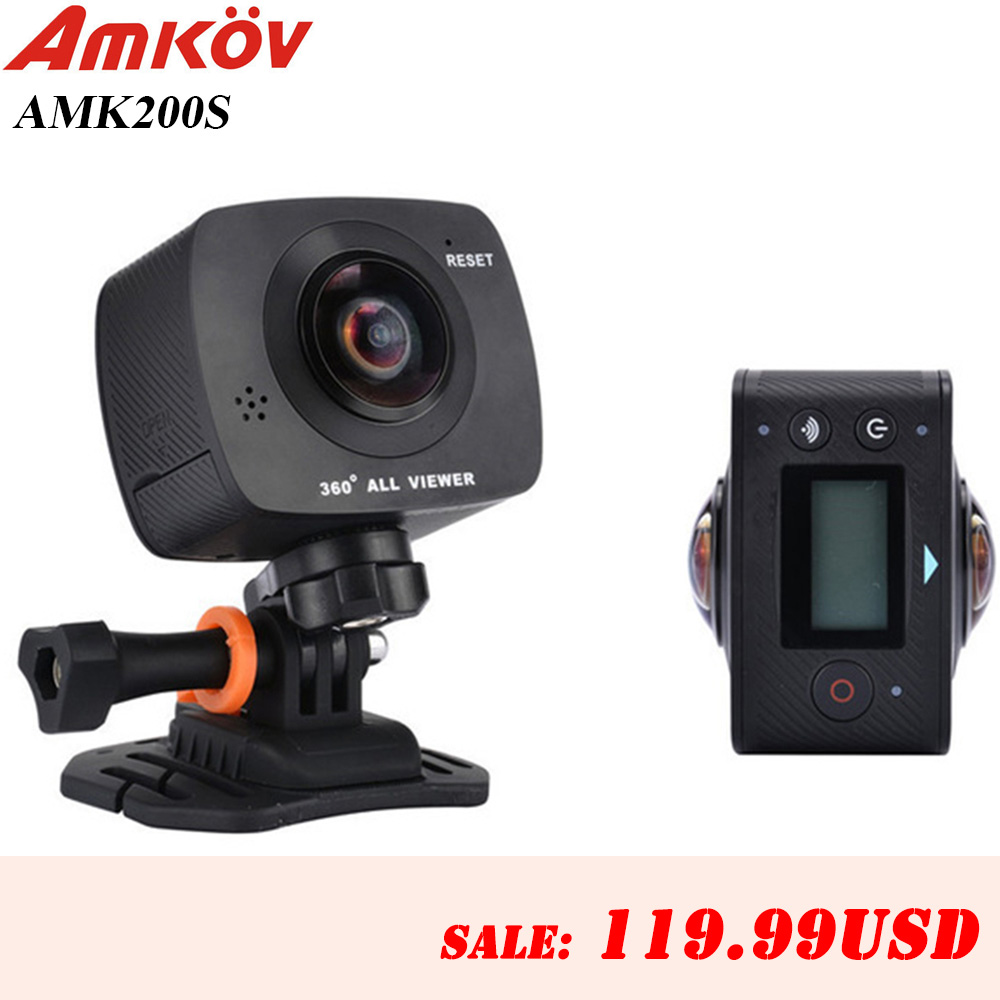 New Arrival AMKOV AMK200S dual lens 360*360 Degree Panorama Camera HD WiFi Sport Camera Action Camera Support VR Youtube
