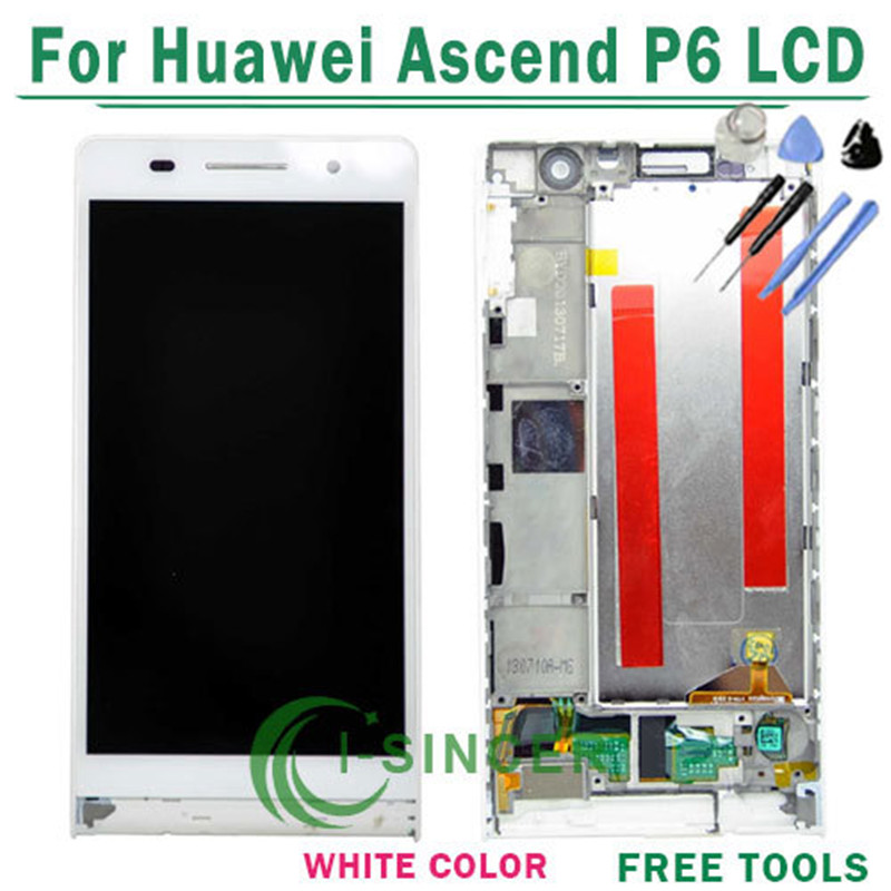 Replacement Parts White LCD Display Touch Screen Digitizer Assembly + Frame for Huawei Ascend P6 + Tools Free shipping  top quality full lcd display touch screen digitizer assembly for huawei ascend w1 u00 c00 w1 replacement white