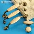 5 pcs Bege Cerâmica Maçanetas Puxadores De Móveis Antigos e Concisa Alças para Armários De Cozinha Gaveta Puxa Gabinete Alças