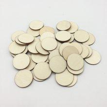 100 pces 25mm 1 polegada de madeira em branco círculo moeda discos pingentes redondos de madeira discos enfeites para fontes do ofício do feriado