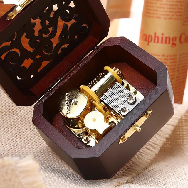 Retro Wooden Wind-Up Music Box