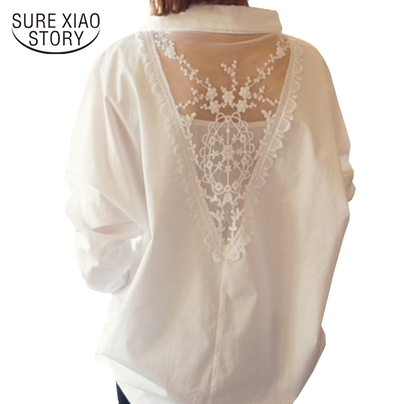 2019 New Women Tops Autumn Long Sleeve Blouses V Collar White Shirt Female Lace Shirts Women Clothing Solid Casual Blouse D95 30