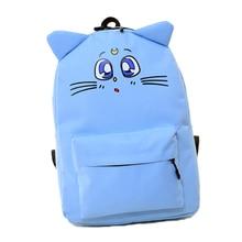 Sailor Moon Canvas Backpack Harajuku Style Backpack Cute Cat Shoulder Bag School Bags For Teenager Girls Book Bag Rucksack 493