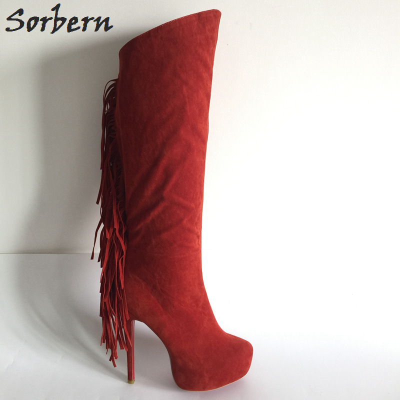 Sorbern Red Fringe High Heels Boots Women Winter Shoes Platform Custom Colors Big Size 44 Ladies Shoes Over Knee Boots ensemble stars 2wink cospaly shoes anime boots custom made