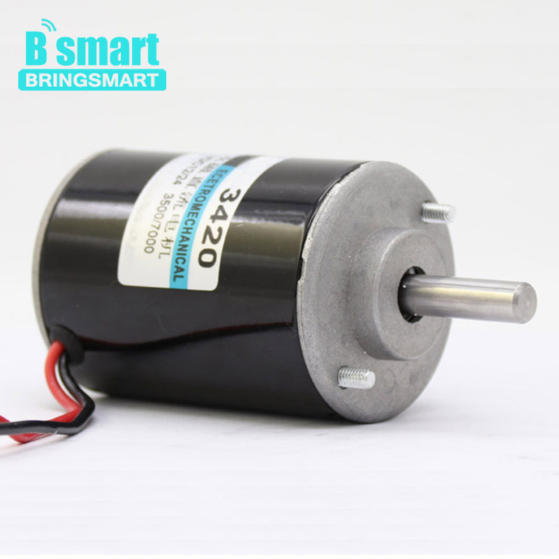 Bringsmart 3420 High Speed DC Motor 3000rpm 12V Reversible 30W Micro Governor Motor 6000rpm 24V Mini Generator