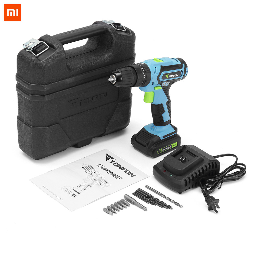 цена на Xiaomi Mijia Tonfon 3 In 1 12V Rechargable Electric Screwdriver Cordless lithium battery Power Dril IImpact Drill with Bits