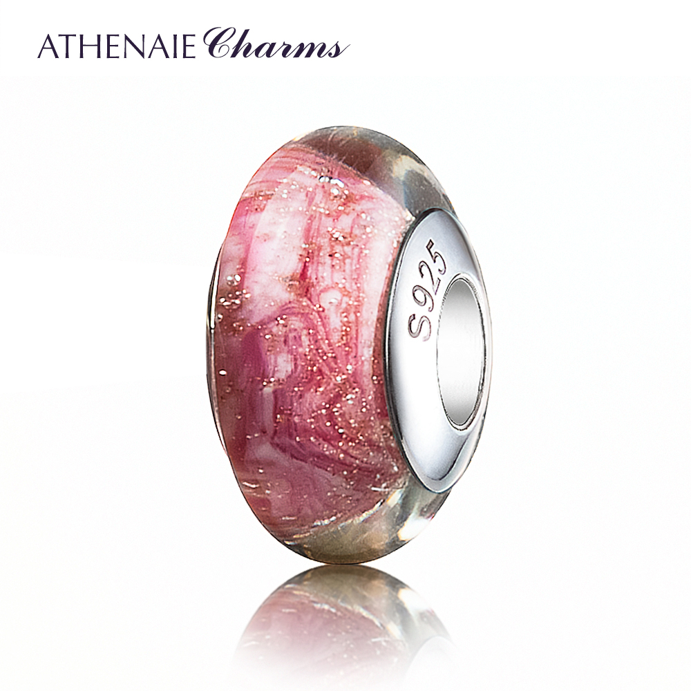 ATHENAIE Genuine Murano Glass 925 Silver Core Gold Sand Charms Beads Fit All European Bracelets Color Pink Gift For Women Girl