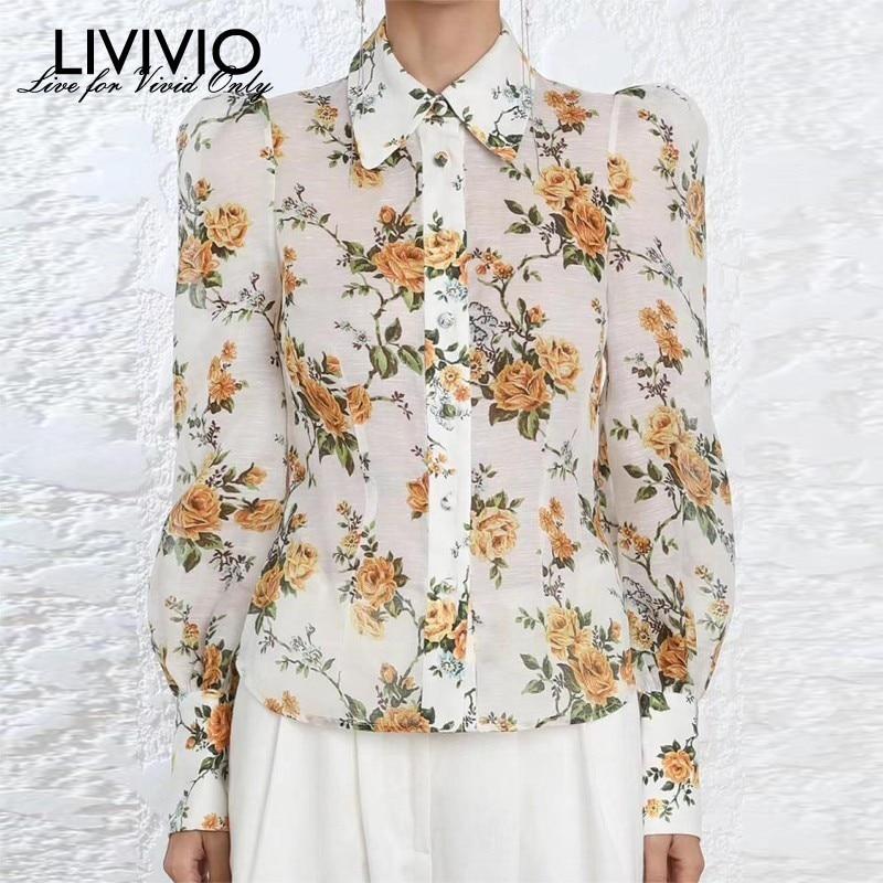[LIVIVIO] Vintage Yellow Floral Print Long Puff Sleeve Button Down Shirt Women Blouse ZIM 2019 Summer Blouse Female Top Fashion