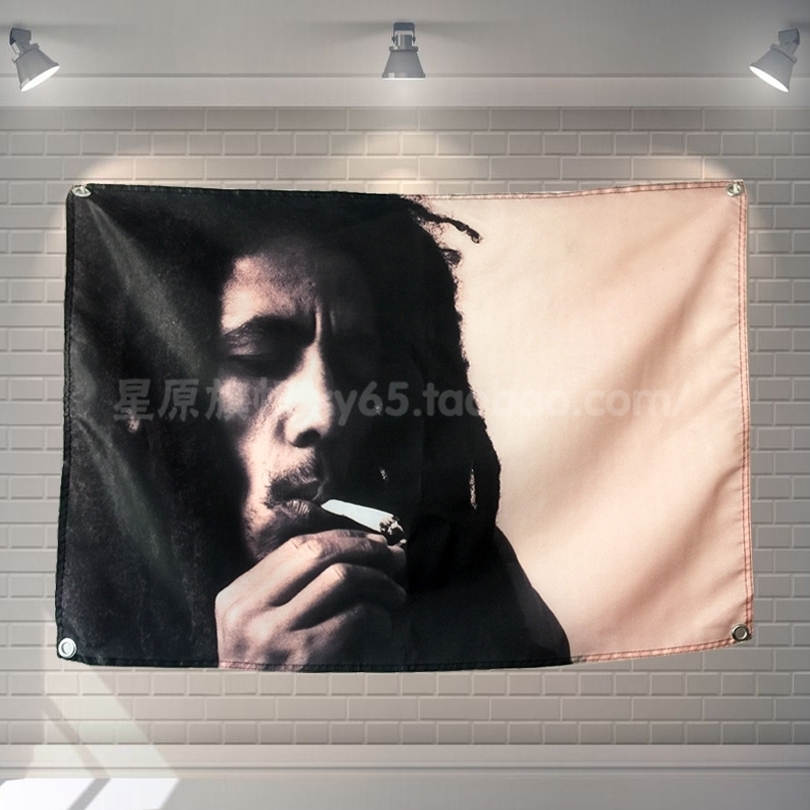 BOB MARLEY Pop Band Sign Cloth Flag Four-Hole Hanging paintings Cafe Hotel Music Studio Decoration image