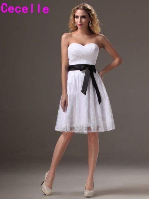 Black White Sweetheart Short Dress