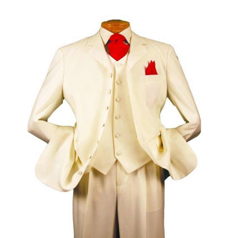 6893579293f34c Men's 3 piece 7 Button Peak Lapel Man Suits Big and Tall Long Pattern Suits  Beige