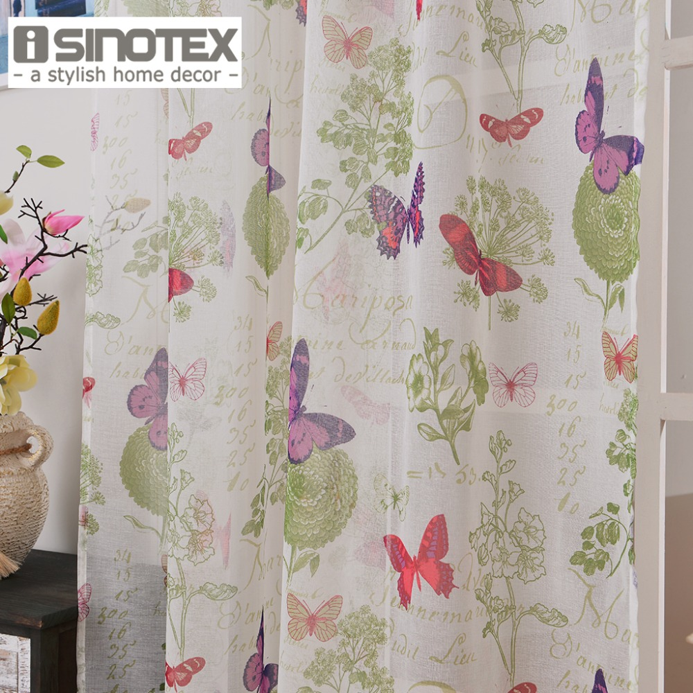 Purple butterfly curtains - Window Curtain Butterfly Printed Pattern Linen Cotton Fabric Tulle Transparent Sheer For Home Living Room Screening 1pcs