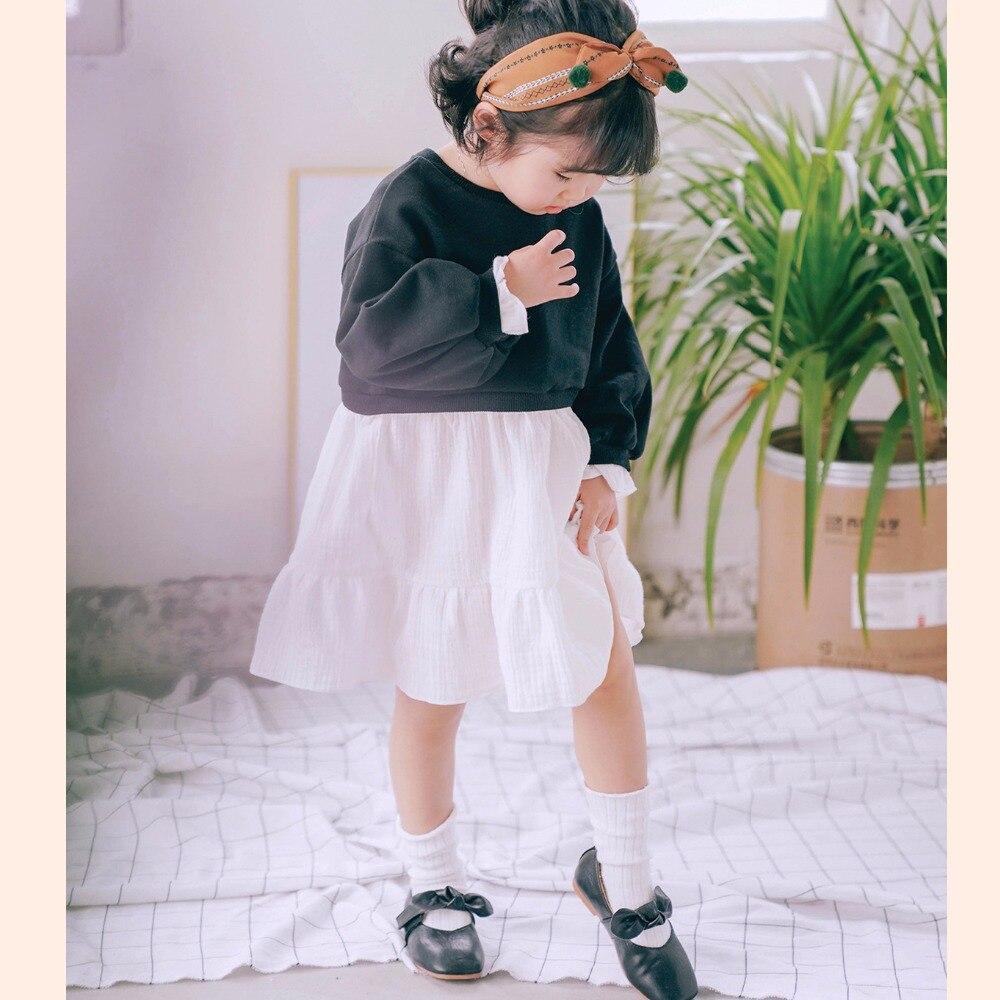 Korea Kids Dresses for girls Long Sleeve Patchwork Vestido Infantil Black White Causal Costume Baby Girl Dress children clothing hot sale girls dress patchwork long sleeve kids dresses for baby girls ball gown princess dress spring children clothes costume