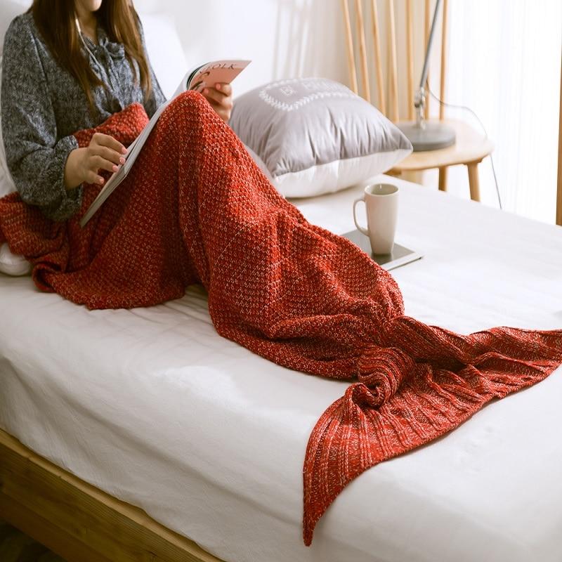 1pc Mermaid Tail Odeje Ročno pletene Throws torba Spanje Wrap Otroci - Domači tekstil