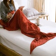 1ピース人魚の尾毛布手作りニットスローバッグ寝袋子供大人の赤ちゃんかぎ針編みバッグソフト毛布寝具カバー