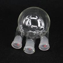 Frasco de vidrio de borosilicato de laboratorio de 500ml con base redonda y 3 cuellos verticales 24/29