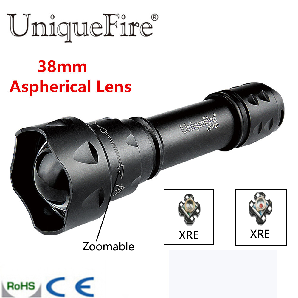 UniqueFire T20 Cree q5 Led Torch 300 Lumens Flashlight 18650 Long Distance Lampe Torch Three Color Light(Green/Red/White) uniquefire uf 1405 cree xpe red white green led flashlight 18650 long distance torch 300 lm rechargeable battery gun mount