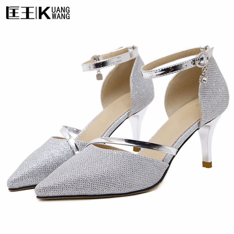 2017 Women's Pumps Med Heels shoes Woman Pointed Toe Wedding Shoes Classic silver gold Pumps Shoes for Office Zapatos Mujer  shofoo newest women shoes med heels pointed toe pumps for woman dress