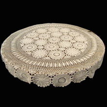 50 Inch Hand Made Crochet Vintage Knit Retro Decorative Hook Engraving  Flower Weaved/Knitted Round Tablecloth