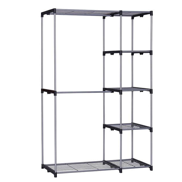 Wonderful YOUUD Double Rod Closet Portable Wardrobe Storage Organizer Free Standing  Sliver Garment Rack With Metal