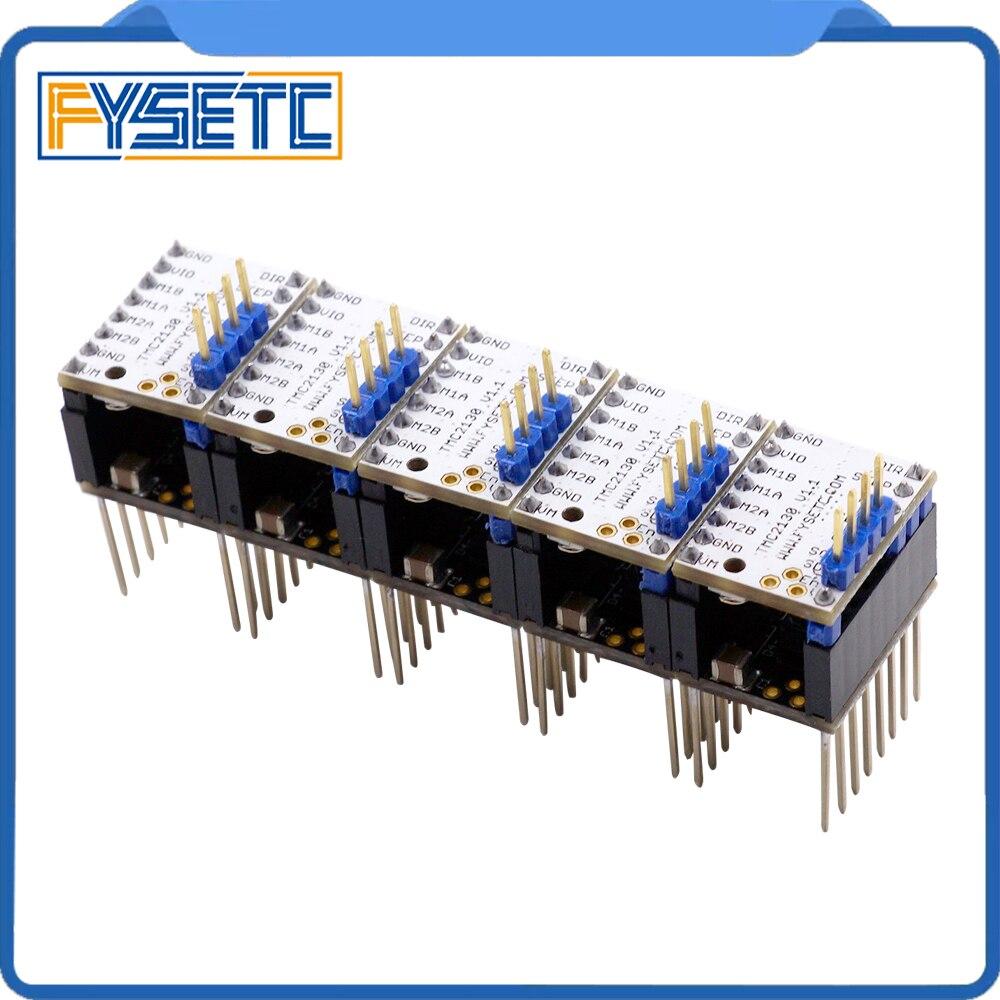 5X MKS TMC2130 V1.1 para SPI función Stepstick controlador de Motor paso a paso con disipador de calor 5 unids paso palo de Protector del TMC2130 V1.0