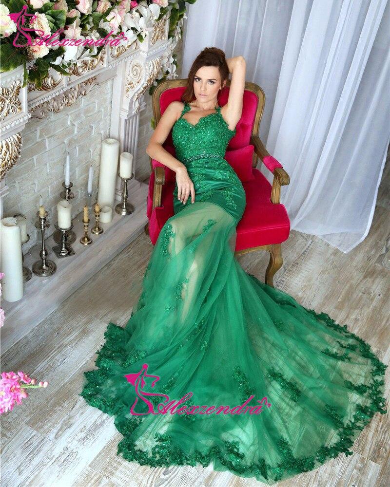 Alexzendra vert sirène longue dentelle robes de bal hors de l'épaule Sexy robe de soirée robes de soirée