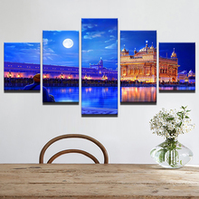 Artryst Modern Canvas Living Room Pictures Painting 5 Panel Indian Golden Temple HD Printed Wall Art Modular Poster Home Decor