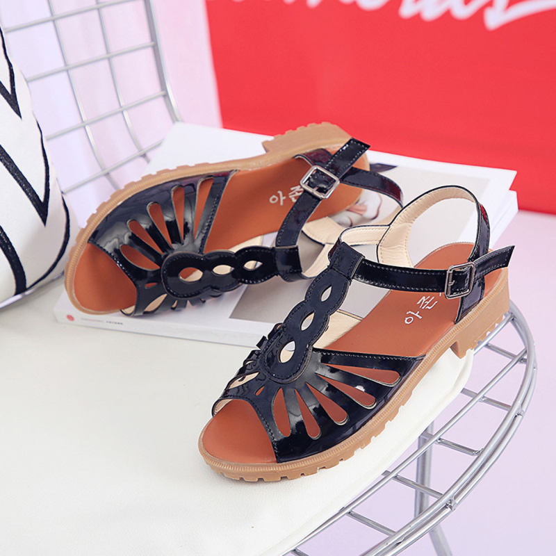 Fashion Women Cutouts Sandals Open Toe Low Wedges Hollow Summer Shoes platform sandals wild simple shoes shook for students mudibear women sandals pu leather flat sandals low wedges summer shoes women open toe platform sandals women casual shoes