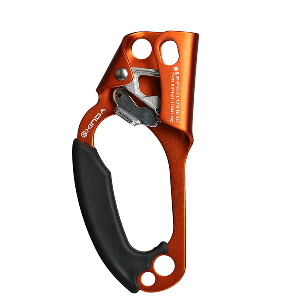 Professional Outdoor Rock Climbing Left Hand Ascending Device Mountaineer Handle Ascender Climb Mountaineering Rope Tool e0037 right hand ascender professional aerospace aluminum ascenders for outdoor mountaineering rock climbing