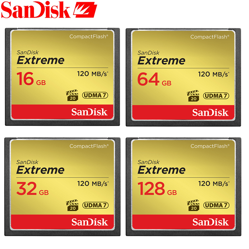 SanDisk CF Card Memory Card Extreme CompactFlash 32GB 64GB 128GB CF Card VPG-20 120MB/s For Rich 4K and Full HD Video SDCFXS sandisk extreme cf card 32gb memory card compactflash memory card 4k full hd video compact flash up to 120mb s 32gb for camera