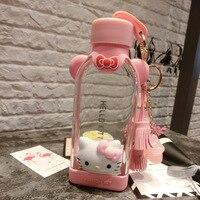350ml Cartoon Hello Kitty Flat Water Bottle Cartoon Glass Bottle Water Cup Anti scalding Silicone Sleeve Tea Bottle Eco Friendly