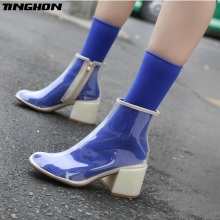 TINGHON Fashion Sexy Candy Color Socks Transparent Clear PVC Ankle Boots Women High Heel Zip Up Walkway Rain