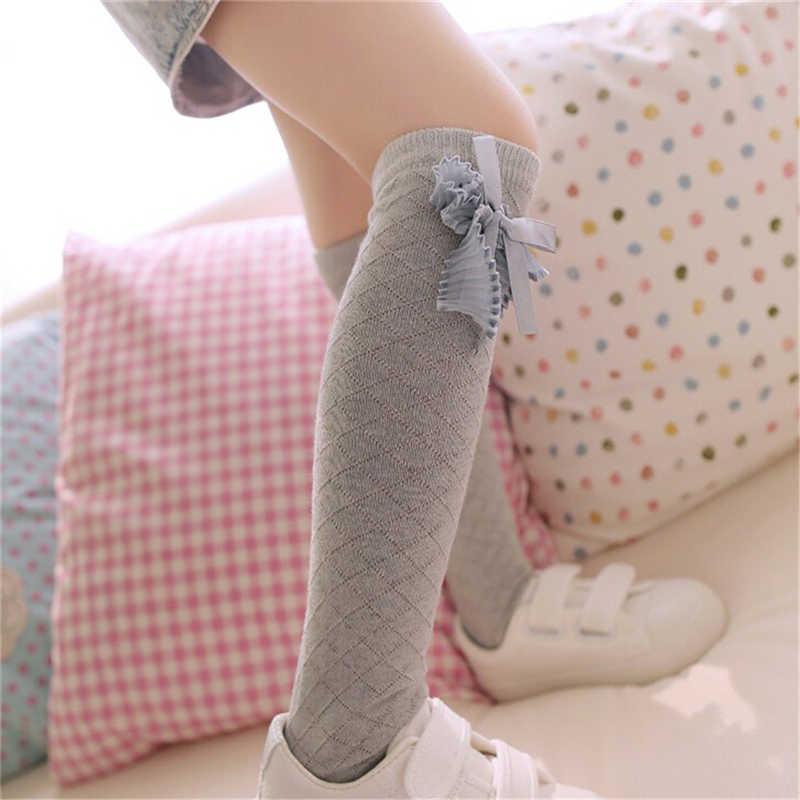 귀여운 어린이 무릎 높은 양말 유아 어린이 아기 소녀 솔리드 보우 매듭 코튼 공주 드레스 발레 긴 양말 다리 따뜻하게