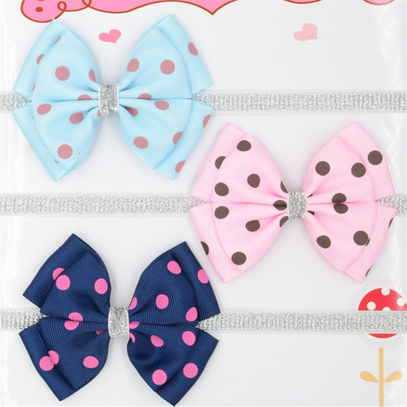 12 color new Baby hair bow dot Headband dots ribbon Hair Band Handmade DIY hair accessories