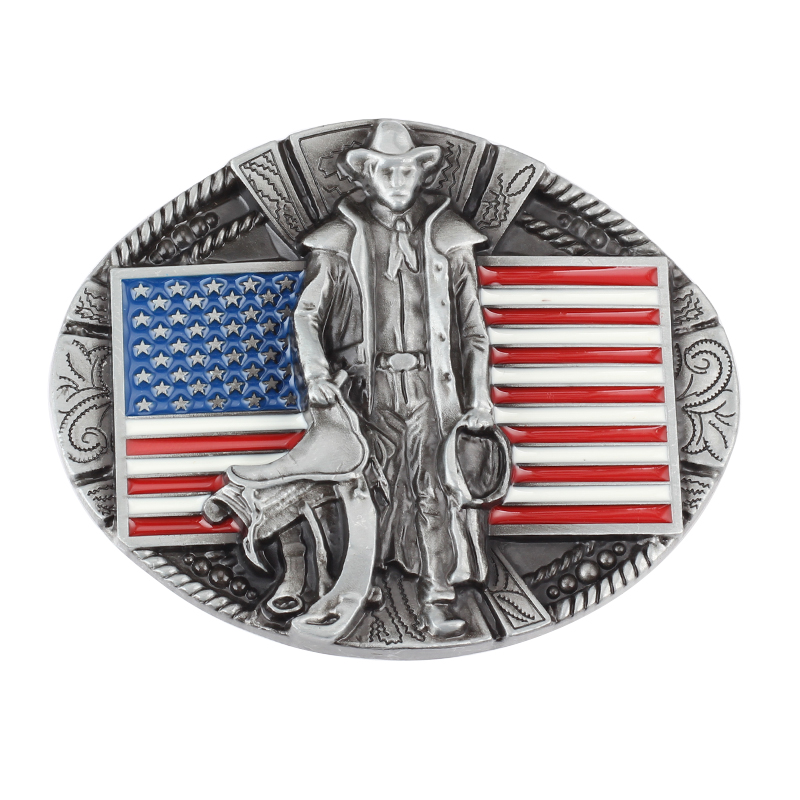 The American Flag And Cowboy Pattern Belt Buckle Zinc Alloy Belt Accessories
