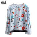 Dotfashion 2017 Cute Women Blouses Blue Floral Print Long Sleeve Casual Tops Single Breasted Back Clothing New Fashion Blouse