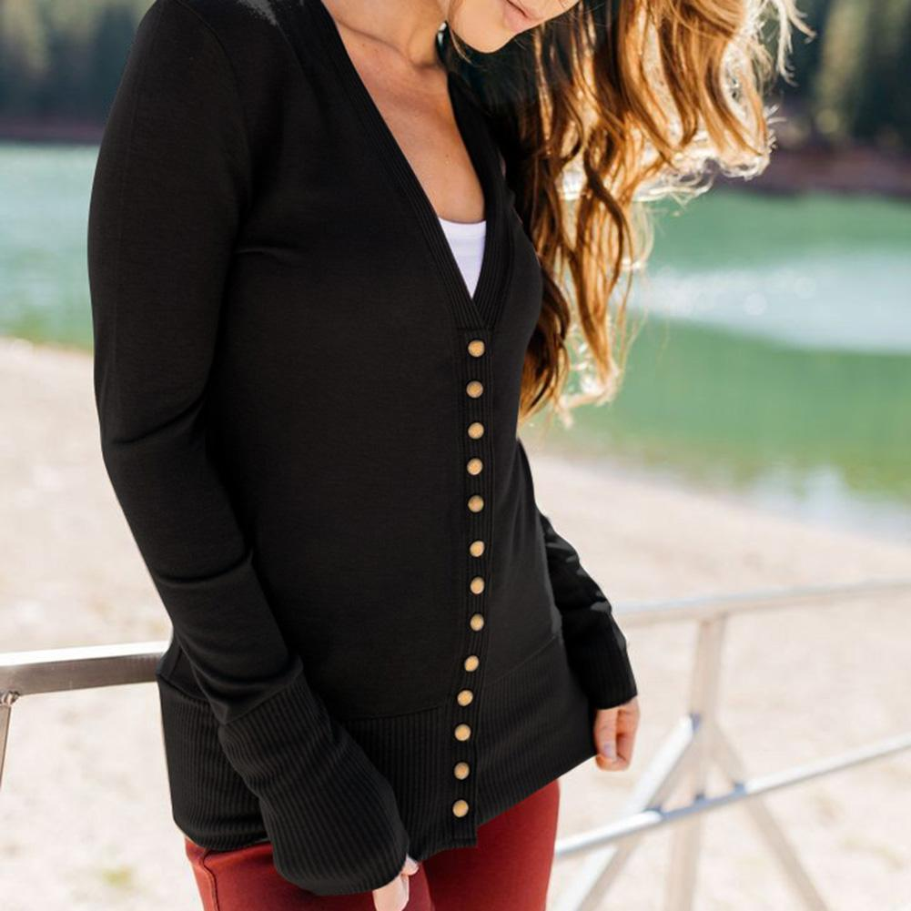 Casual Women Slim Fit Solid Color Cardigan Snap Buttons Long Sleeve Coat Outwear new