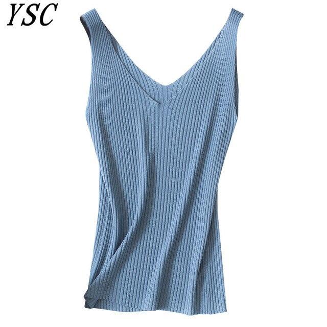 YSC 2019 Phụ Nữ Mùa Hè đan Linen vest màu Tinh Khiết Strip phong cách tính thấm khí Tốt chất lượng cao Dệt Kim sling
