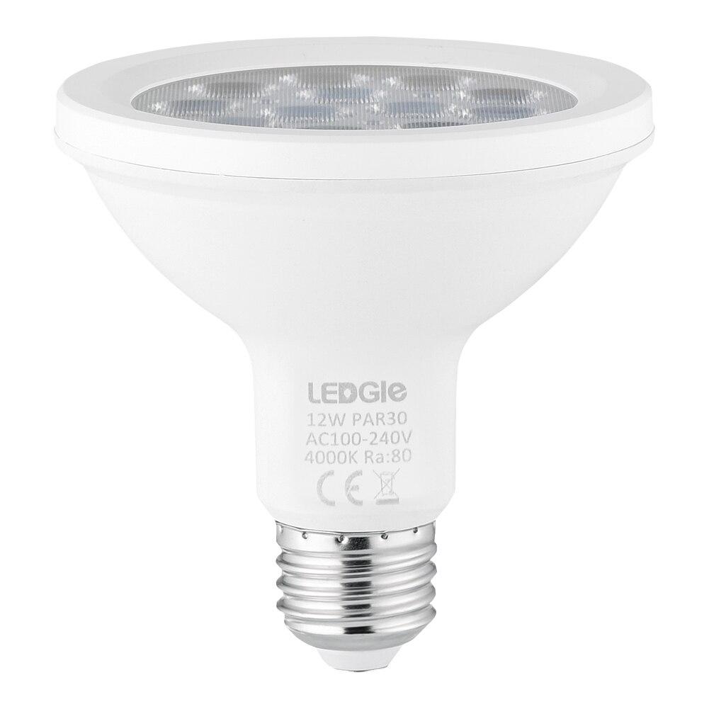 LEDGLE PAR30 Spotlight Ampoules LED Ampoules économes en Énergie Ampoule, 12 W, Non Dimmable, 4000 K Blanc Naturel