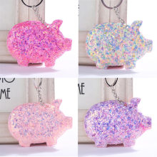 Lovely Pig Key Ring Sequins Glitter Keychain for Women Girls Bag Car Keyring Handbag Pendant Animal Key Chains Jewelry(China)