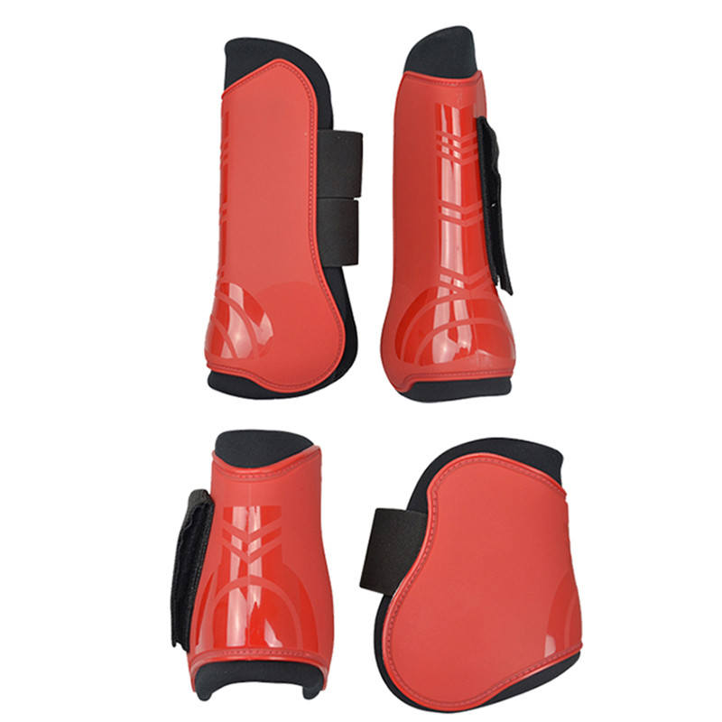 Image 3 - 4 PCS Soft PU Leather Horse Riding Equestrian Equipment Horse racing Legging Protector Exercise boots Equipment  Horse Bracers-in Horse Care Products from Sports & Entertainment