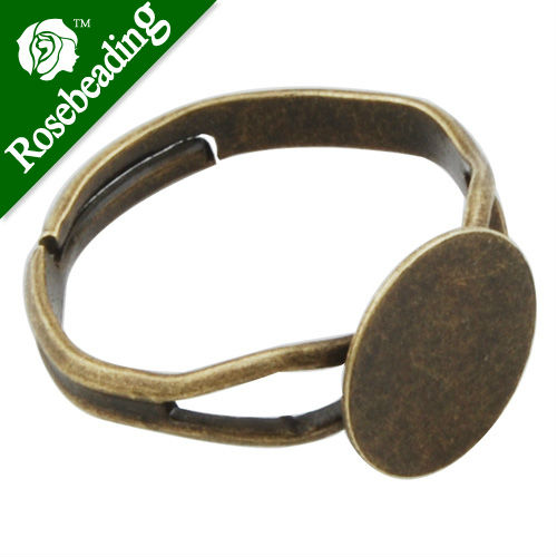 Antique Bronze plated Adjustable Ring Blanks Base With 10MM Blank Pad,ring setting,adjustable ring blanks,Sold 50PCS Per Package