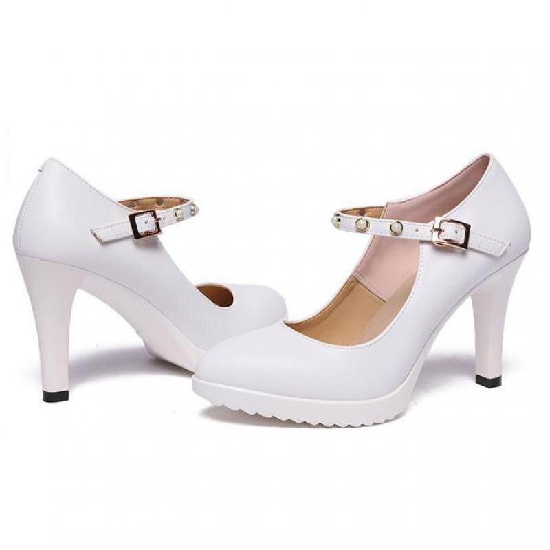 De Point Zapatos Vestido La Mujeres Sexy Boda Los Novia Oficina blanco Toe Las Alto Blanco Bombas Moda Tacón Negro r1rFqp
