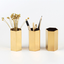 Plated metal pen holder simple stainless steel tabletop decoration hexagonal round