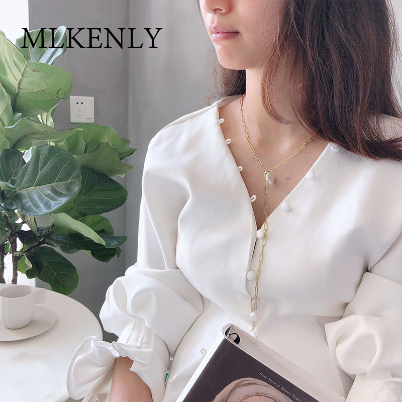 MLKENLY 925 Sterling Silver Boho Baroque Pearl Necklace for Women Long Chain Charm Statement Collares Necklace Wedding Jewelry